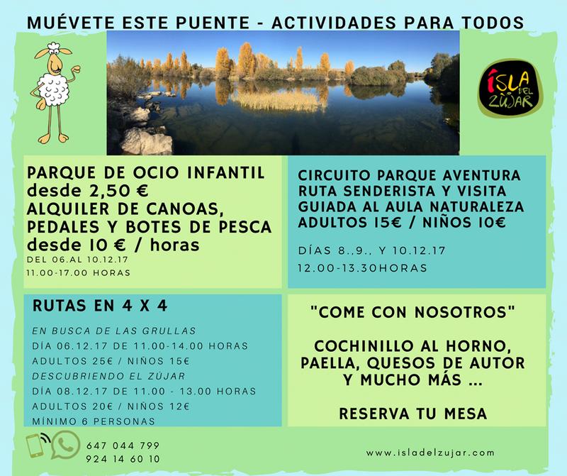 Oferta actividades Isla del Zujar para el Puente d ela Constitución 2017