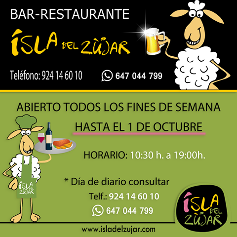 Horario Bar-Terraza Isla del Zujar Septiembre 2017